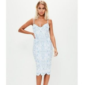 Blue & white misguided bodycon midi dress